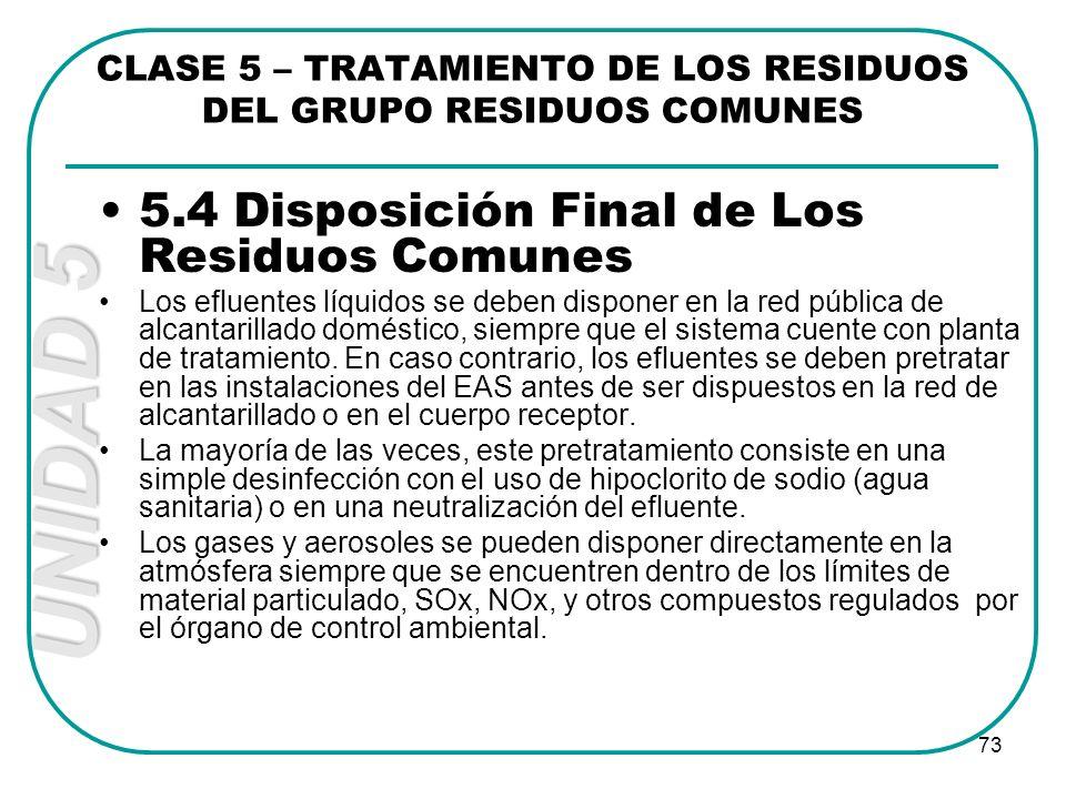 UNIDAD 5 73 5.4 Disposición Final de Los Residuos Comunes Los efluentes líquidos se deben disponer en la red pública de alcantarillado doméstico, siem