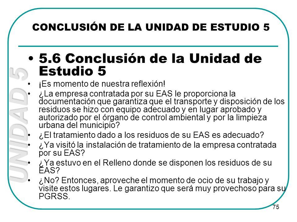 UNIDAD 5 75 5.6 Conclusión de la Unidad de Estudio 5 ¡Es momento de nuestra reflexión! ¿La empresa contratada por su EAS le proporciona la documentaci