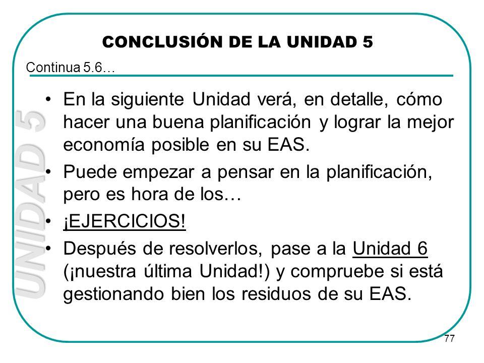 UNIDAD 5 77 CONCLUSIÓN DE LA UNIDAD 5 En la siguiente Unidad verá, en detalle, cómo hacer una buena planificación y lograr la mejor economía posible e