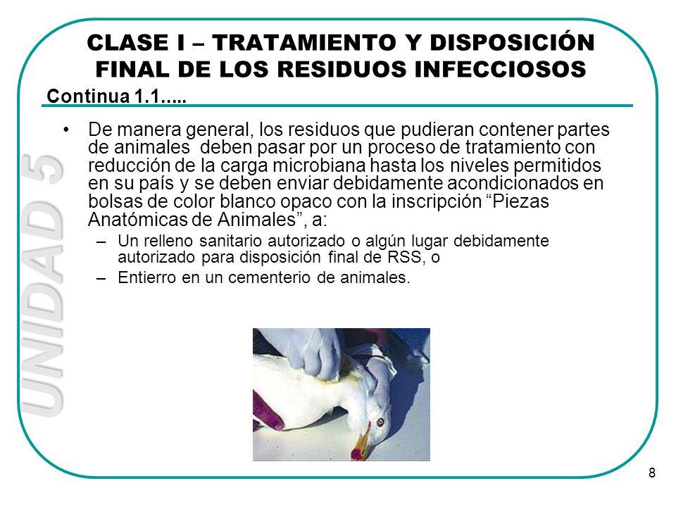 UNIDAD 5 8 De manera general, los residuos que pudieran contener partes de animales deben pasar por un proceso de tratamiento con reducción de la carg