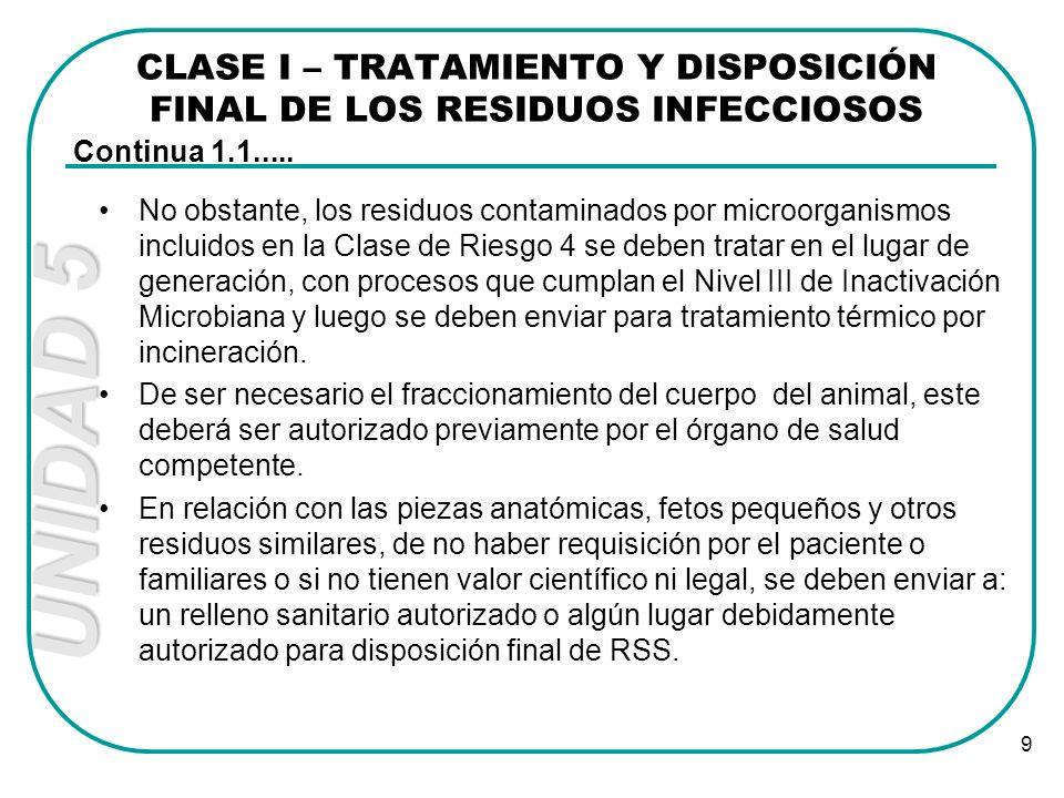 UNIDAD 5 9 No obstante, los residuos contaminados por microorganismos incluidos en la Clase de Riesgo 4 se deben tratar en el lugar de generación, con
