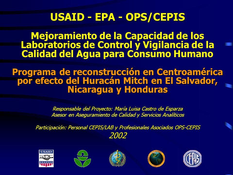 USAID - EPA - OPS/CEPIS Mejoramiento de la Capacidad de los Laboratorios de Control y Vigilancia de la Calidad del Agua para Consumo Humano Programa d