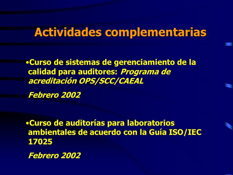 Actividades complementarias Curso de sistemas de gerenciamiento de la calidad para auditores: Programa de acreditación OPS/SCC/CAEAL Febrero 2002 Curs