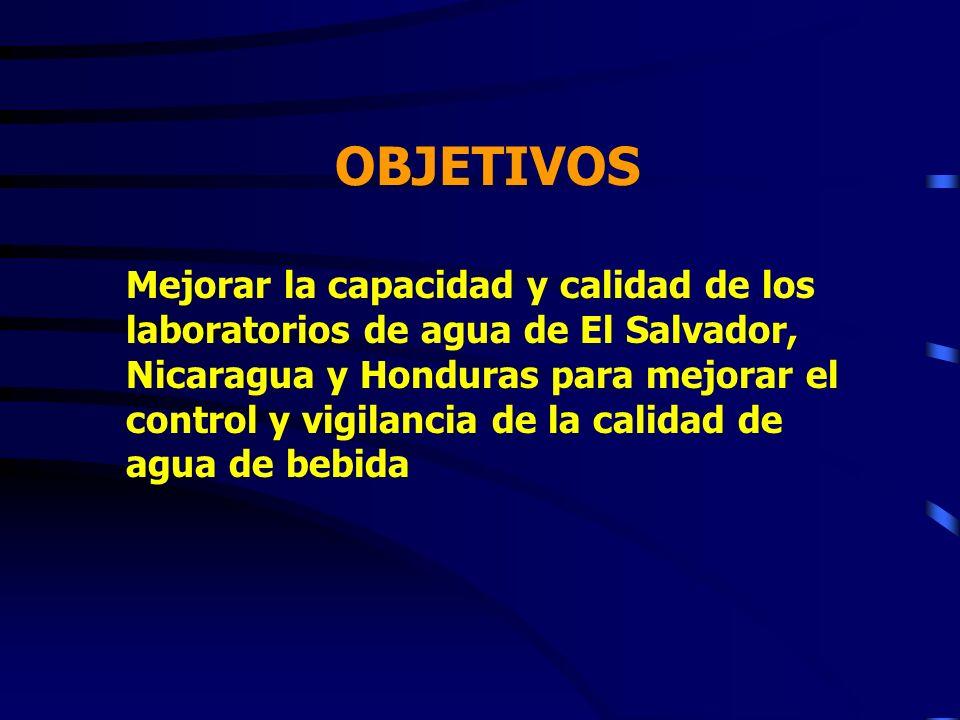 OBJETIVOS Mejorar la capacidad y calidad de los laboratorios de agua de El Salvador, Nicaragua y Honduras para mejorar el control y vigilancia de la c