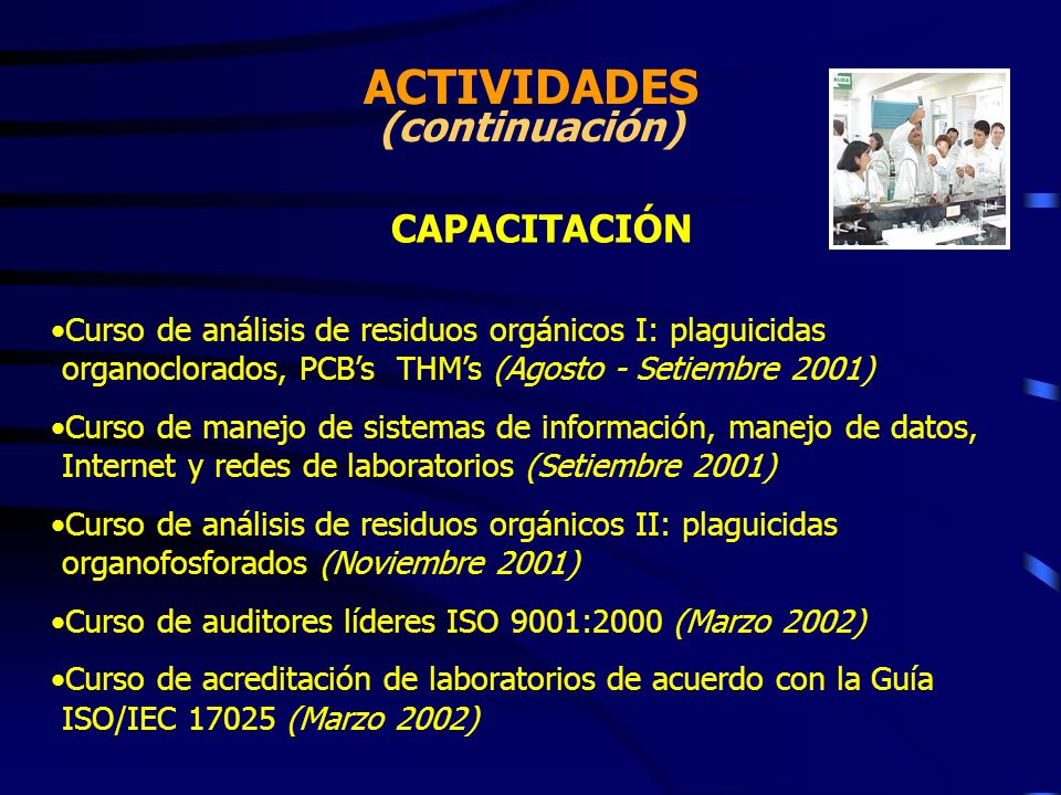 ACTIVIDADES (continuación) CAPACITACIÓN Curso de análisis de residuos orgánicos I: plaguicidas organoclorados, PCBs THMs (Agosto - Setiembre 2001) Cur