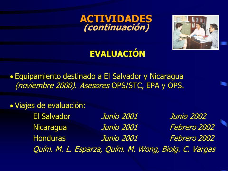 EVALUACIÓN Equipamiento destinado a El Salvador y Nicaragua (noviembre 2000). Asesores OPS/STC, EPA y OPS. Viajes de evaluación: El SalvadorJunio 2001