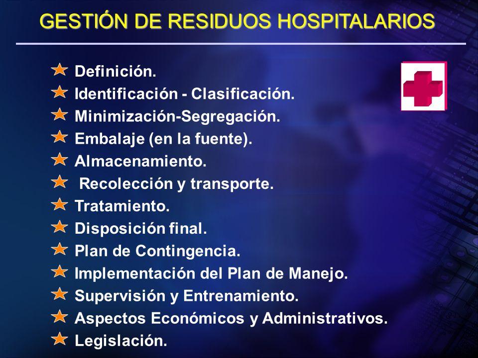 GESTIÓN DE RESIDUOS HOSPITALARIOS Definición. Identificación - Clasificación. Minimización-Segregación. Embalaje (en la fuente). Almacenamiento. Recol