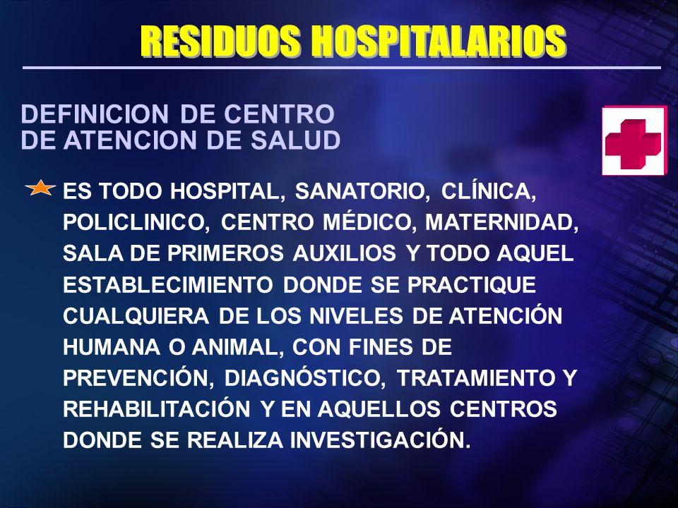 DEFINICION DE CENTRO DE ATENCION DE SALUD ES TODO HOSPITAL, SANATORIO, CLÍNICA, POLICLINICO, CENTRO MÉDICO, MATERNIDAD, SALA DE PRIMEROS AUXILIOS Y TO