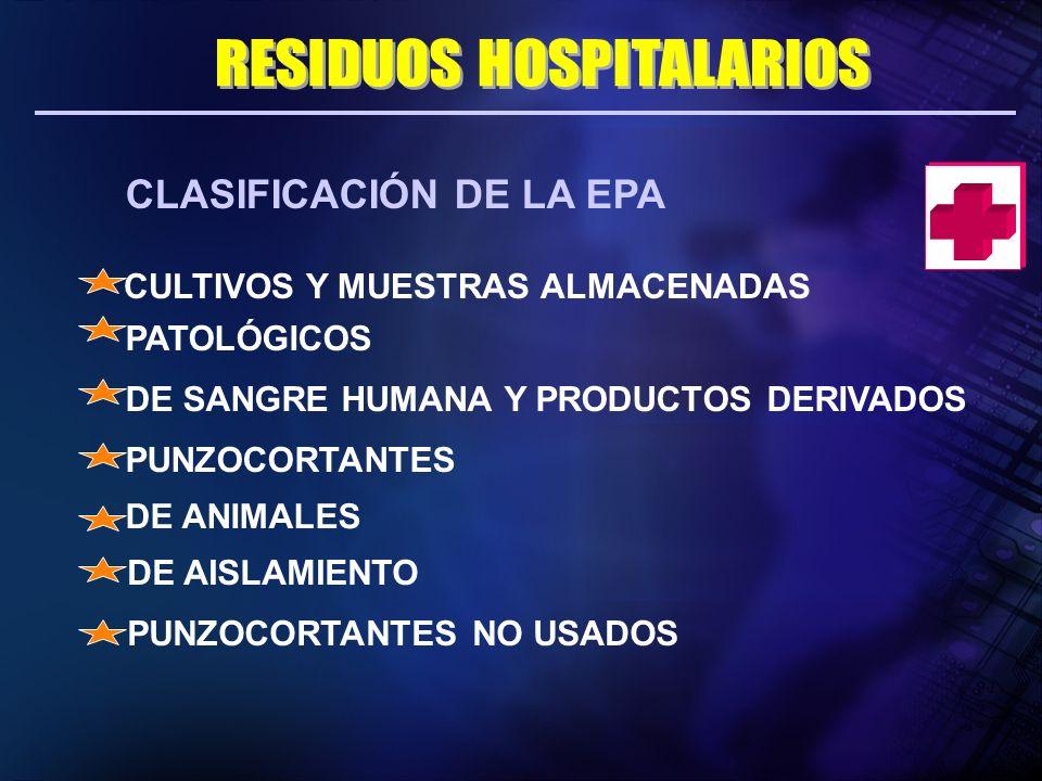 CLASIFICACIÓN DE LA EPA CULTIVOS Y MUESTRAS ALMACENADAS PATOLÓGICOS DE SANGRE HUMANA Y PRODUCTOS DERIVADOS PUNZOCORTANTES DE ANIMALES DE AISLAMIENTO P