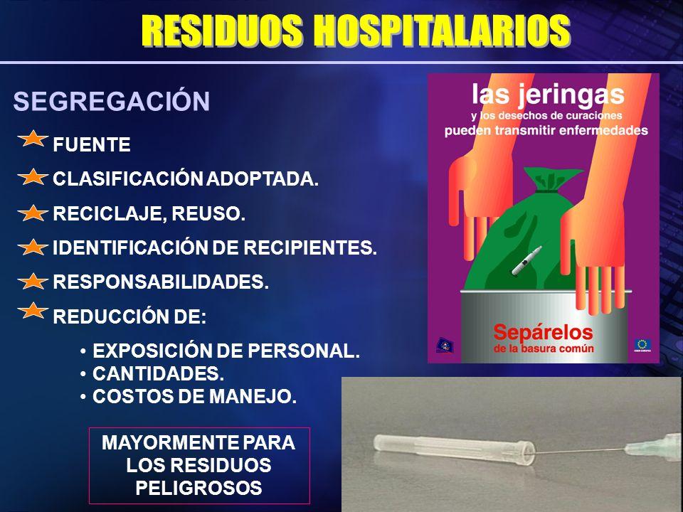SEGREGACIÓN MAYORMENTE PARA LOS RESIDUOS PELIGROSOS FUENTE CLASIFICACIÓN ADOPTADA. IDENTIFICACIÓN DE RECIPIENTES. RESPONSABILIDADES. REDUCCIÓN DE: EXP