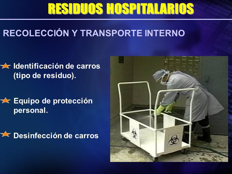 Desinfección de carros RECOLECCIÓN Y TRANSPORTE INTERNO Equipo de protección personal. Identificación de carros (tipo de residuo).