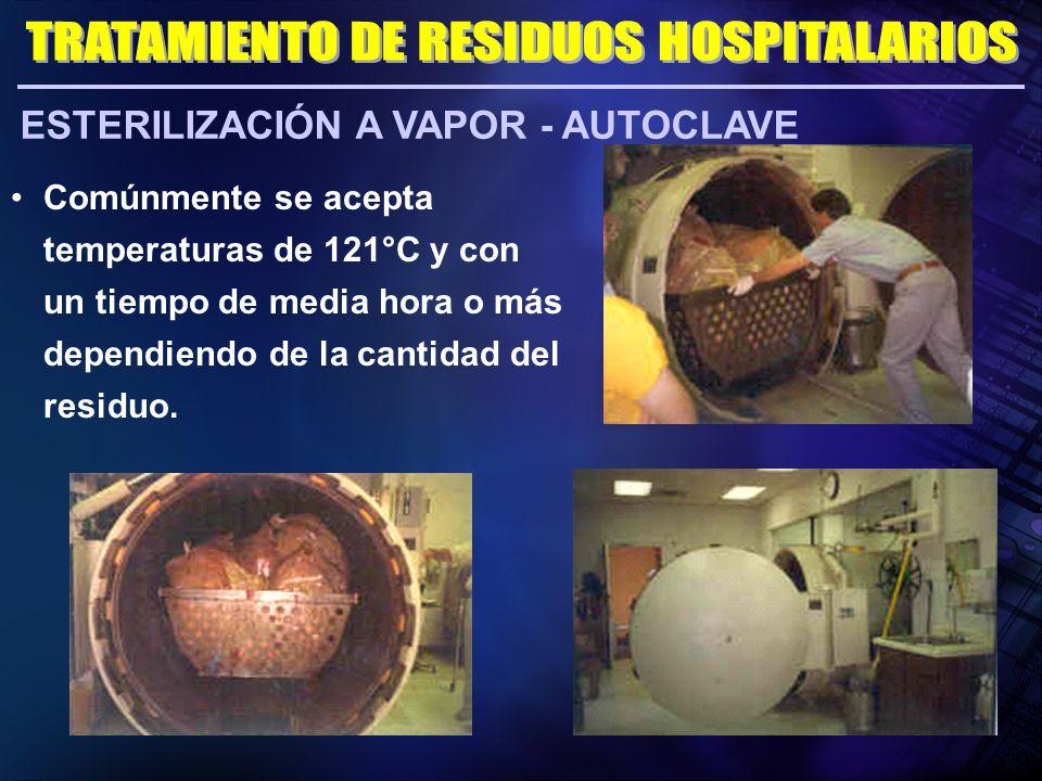 ESTERILIZACIÓN A VAPOR - AUTOCLAVE Comúnmente se acepta temperaturas de 121°C y con un tiempo de media hora o más dependiendo de la cantidad del resid