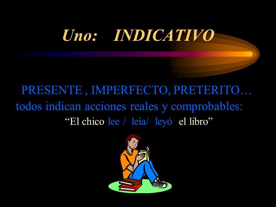 Uno: INDICATIVO PRESENTE, IMPERFECTO, PRETERITO… todos indican acciones reales y comprobables: El chico lee / leía/ leyó el libro