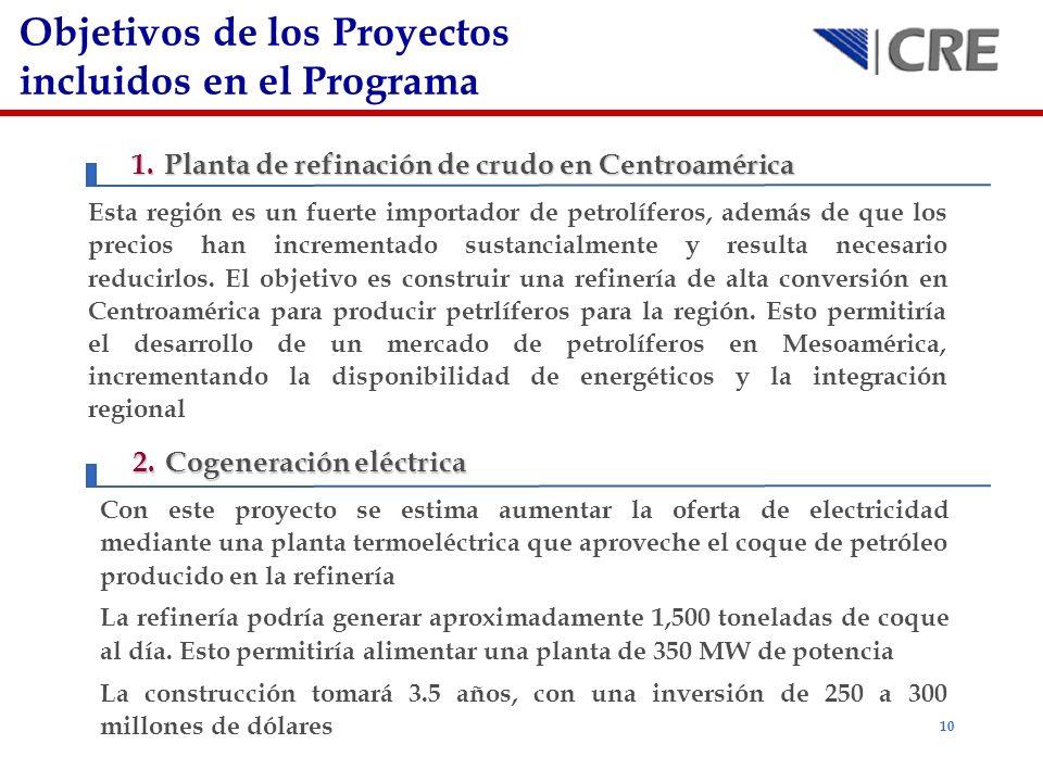 10 Objetivos de los Proyectos incluidos en el Programa 1.Planta de refinación de crudo en Centroamérica Esta región es un fuerte importador de petrolí