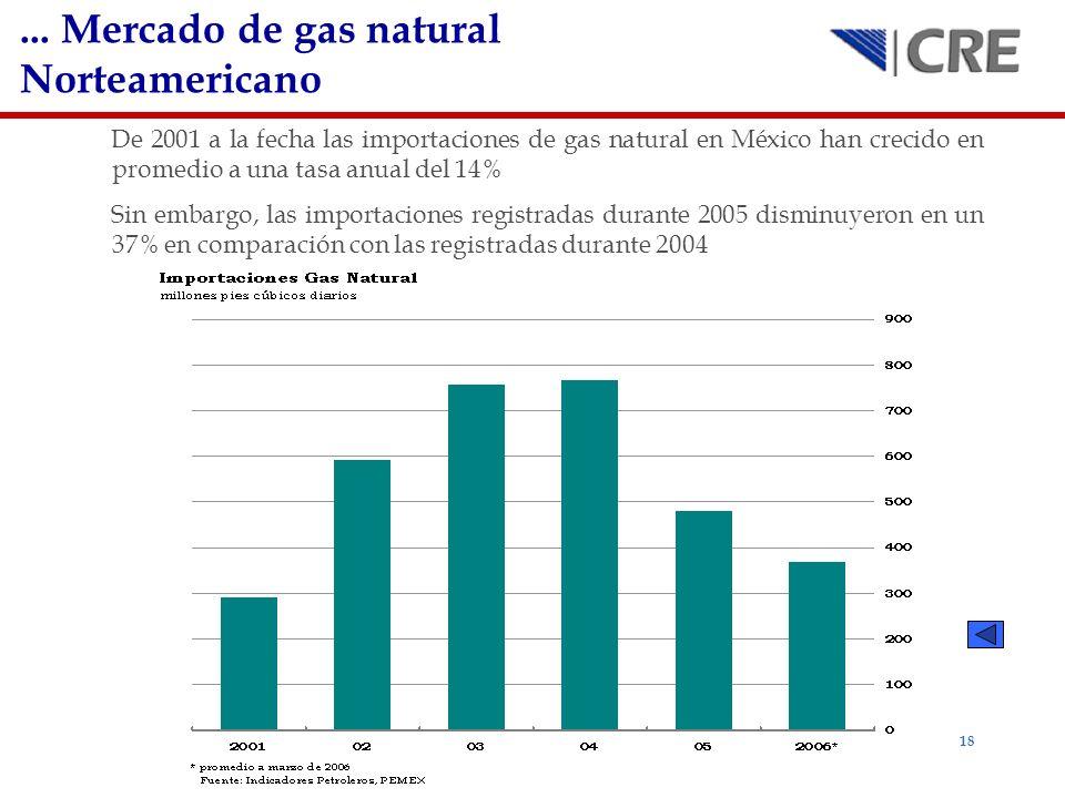 18 De 2001 a la fecha las importaciones de gas natural en México han crecido en promedio a una tasa anual del 14% Sin embargo, las importaciones regis