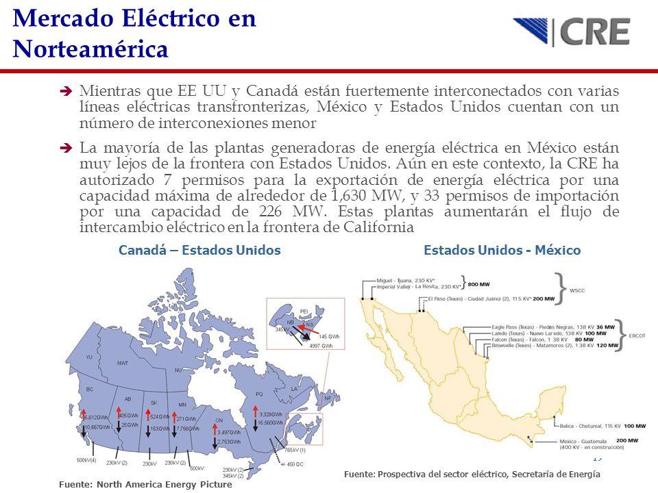 19 Mientras que EE UU y Canadá están fuertemente interconectados con varias líneas eléctricas transfronterizas, México y Estados Unidos cuentan con un
