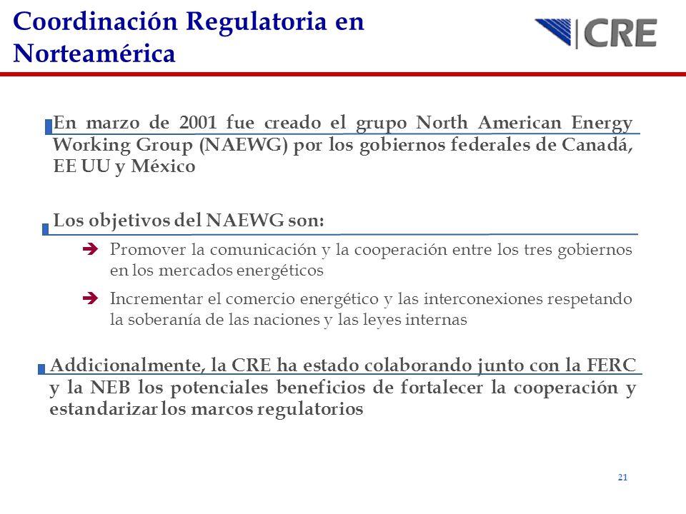 21 Coordinación Regulatoria en Norteamérica En marzo de 2001 fue creado el grupo North American Energy Working Group (NAEWG) por los gobiernos federal