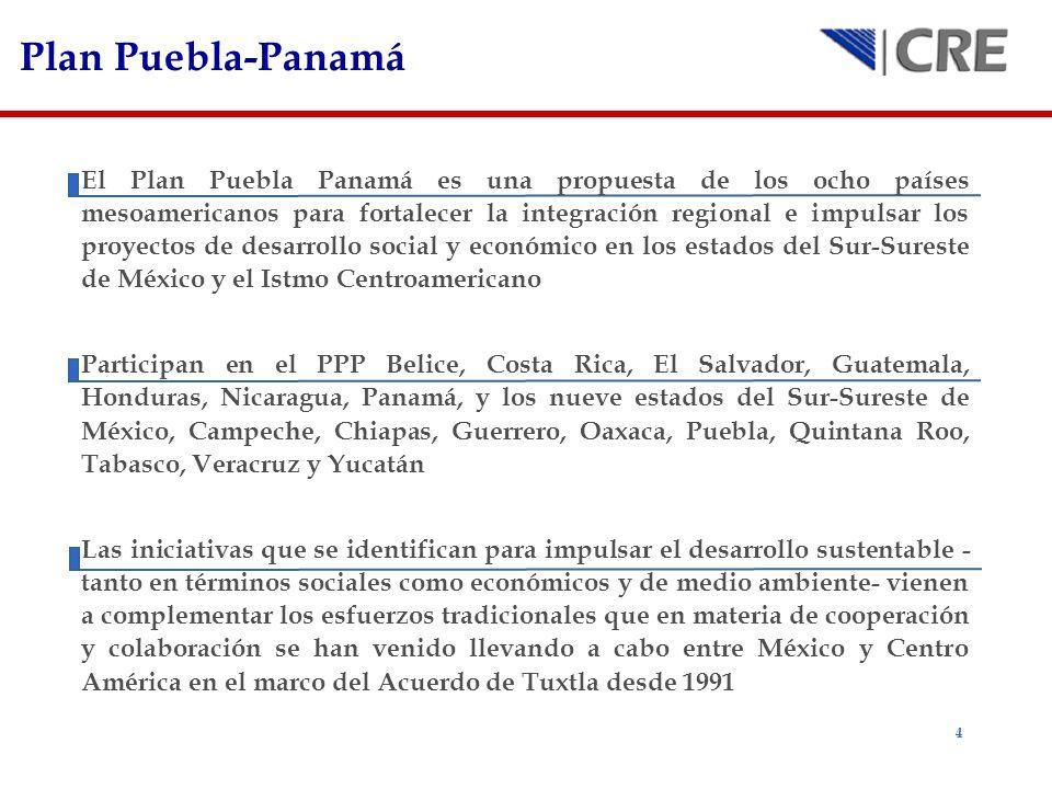 4 Plan Puebla-Panamá El Plan Puebla Panamá es una propuesta de los ocho países mesoamericanos para fortalecer la integración regional e impulsar los p