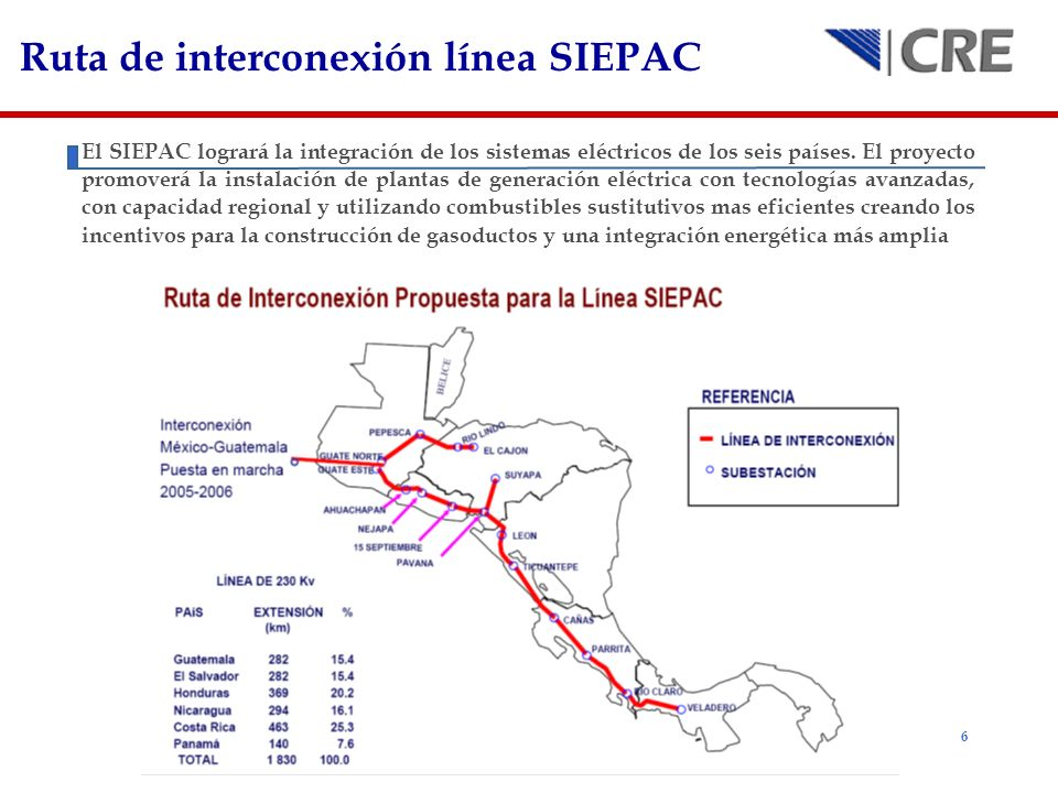 6 Ruta de interconexión línea SIEPAC El SIEPAC logrará la integración de los sistemas eléctricos de los seis países. El proyecto promoverá la instalac