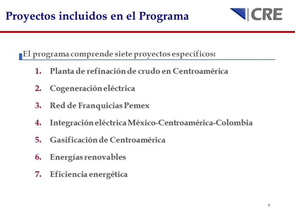 10 Objetivos de los Proyectos incluidos en el Programa 1.Planta de refinación de crudo en Centroamérica Esta región es un fuerte importador de petrolíferos, además de que los precios han incrementado sustancialmente y resulta necesario reducirlos.