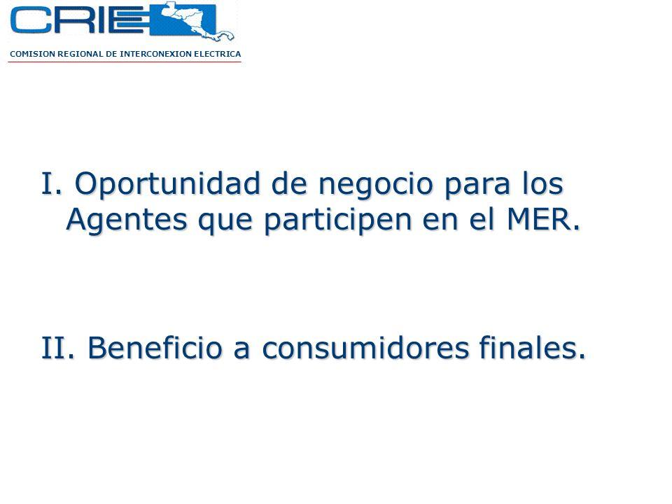 I. Oportunidad de negocio para los Agentes que participen en el MER. II. Beneficio a consumidores finales. COMISION REGIONAL DE INTERCONEXION ELECTRIC