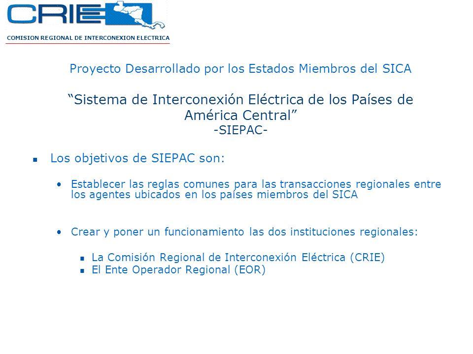 COMISION REGIONAL DE INTERCONEXION ELECTRICA Proyecto Desarrollado por los Estados Miembros del SICA Sistema de Interconexión Eléctrica de los Países
