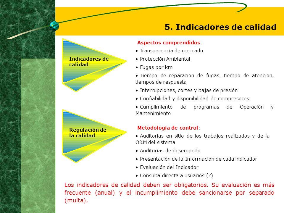 5. Indicadores de calidad Aspectos comprendidos: Transparencia de mercado Protección Ambiental Fugas por km Tiempo de reparación de fugas, tiempo de a