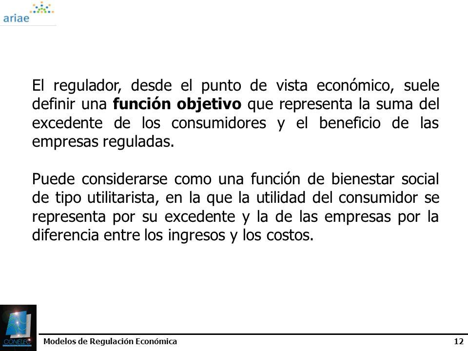Modelos de Regulación Económica12 El regulador, desde el punto de vista económico, suele definir una función objetivo que representa la suma del exced