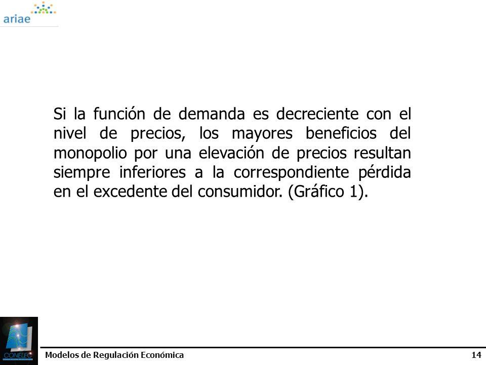 Modelos de Regulación Económica14 Si la función de demanda es decreciente con el nivel de precios, los mayores beneficios del monopolio por una elevac