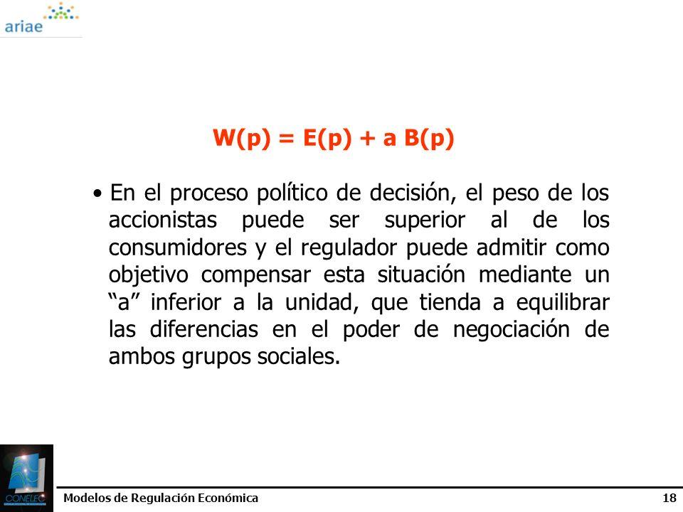 Modelos de Regulación Económica18 W(p) = E(p) + a B(p) En el proceso político de decisión, el peso de los accionistas puede ser superior al de los con