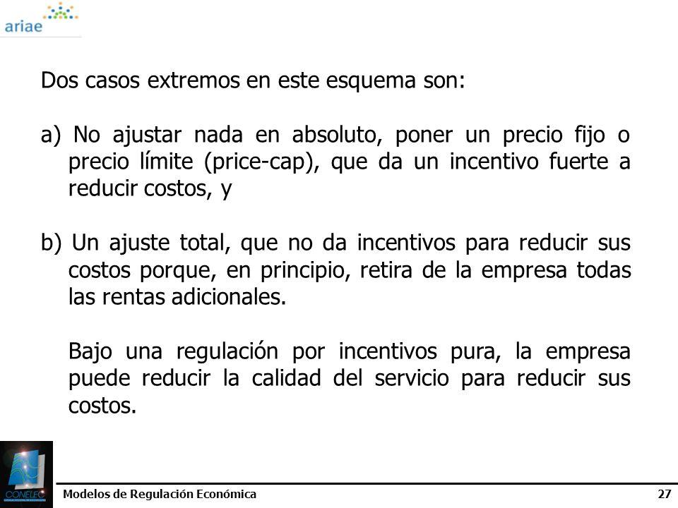 Modelos de Regulación Económica27 Dos casos extremos en este esquema son: a) No ajustar nada en absoluto, poner un precio fijo o precio límite (price-