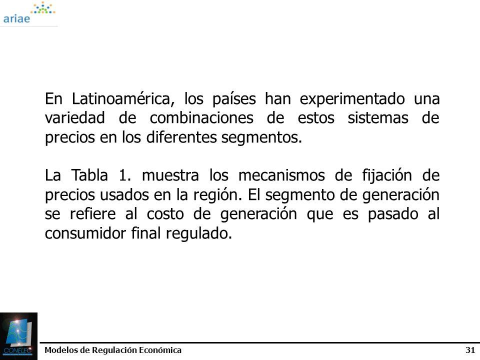 Modelos de Regulación Económica31 En Latinoamérica, los países han experimentado una variedad de combinaciones de estos sistemas de precios en los dif