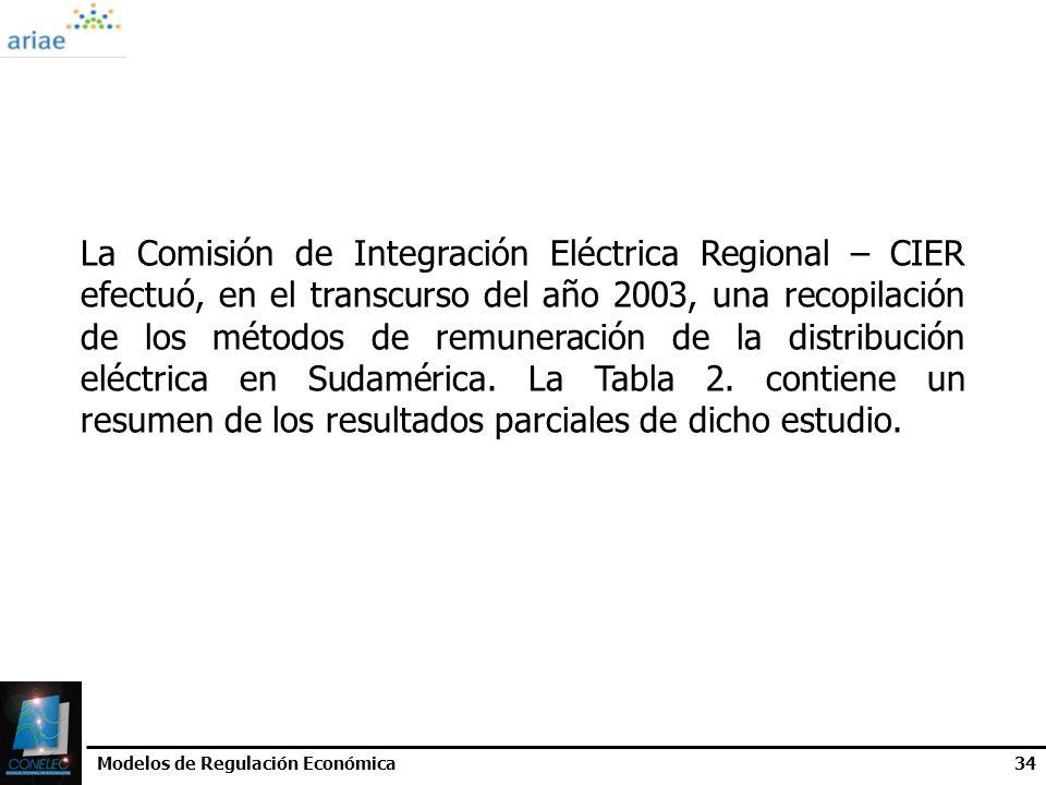 Modelos de Regulación Económica34 La Comisión de Integración Eléctrica Regional – CIER efectuó, en el transcurso del año 2003, una recopilación de los