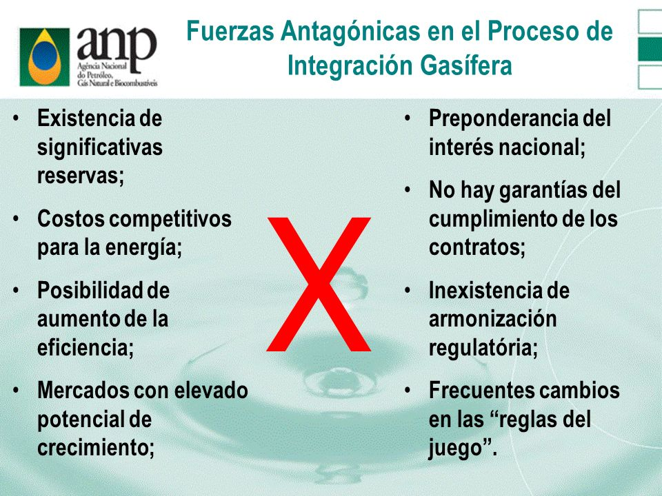 Fuerzas Antagónicas en el Proceso de Integración Gasífera Existencia de significativas reservas; Costos competitivos para la energía; Posibilidad de a