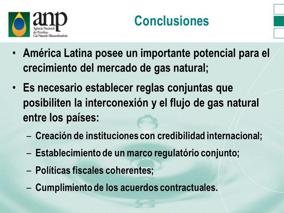 Conclusiones América Latina posee un importante potencial para el crecimiento del mercado de gas natural; Es necesario establecer reglas conjuntas que