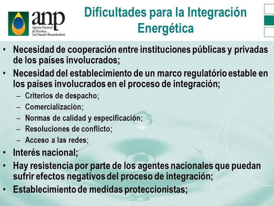 Dificultades para la Integración Energética Necesidad de cooperación entre instituciones públicas y privadas de los países involucrados; Necesidad del