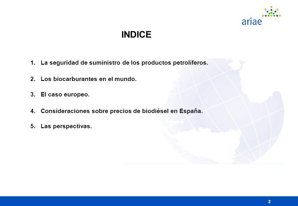 13 Consideraciones sobre precios biodiésel en España Promedio 2004 (c/lt) lLos biocarburantes tienen Impuesto Especial cero en el volumen aportado a la mezcla (1/1/2013) lCaso de ser competitivos por el alto precio del carburante => aplicaría IE (Ley 22/2005) lLa AIE estima banda coste materia prima entre 0,33 y 0,66 /lt lCoste neto total estimado por PER 2005-2010: 0,685 /lt lLa política de precios en EE.SS.