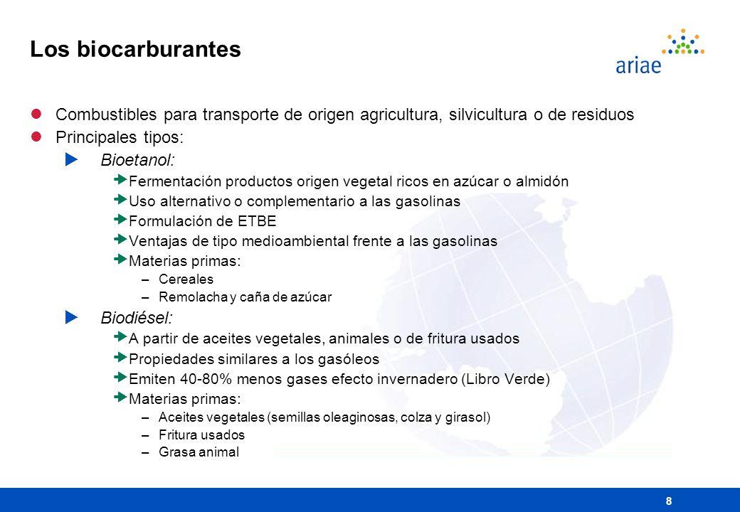 8 Los biocarburantes lCombustibles para transporte de origen agricultura, silvicultura o de residuos lPrincipales tipos: Bioetanol: Fermentación produ