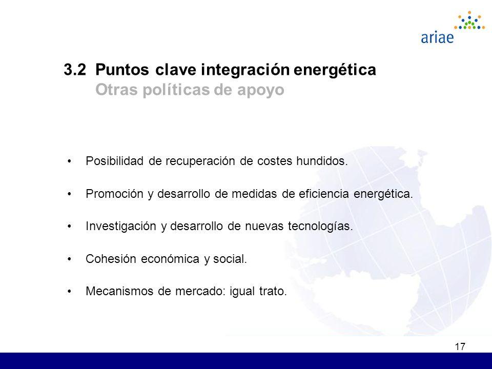 17 Posibilidad de recuperación de costes hundidos. Promoción y desarrollo de medidas de eficiencia energética. Investigación y desarrollo de nuevas te
