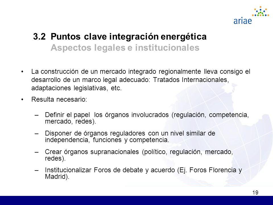 19 La construcción de un mercado integrado regionalmente lleva consigo el desarrollo de un marco legal adecuado: Tratados Internacionales, adaptaciones legislativas, etc.