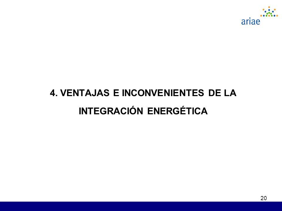 20 4. VENTAJAS E INCONVENIENTES DE LA INTEGRACIÓN ENERGÉTICA