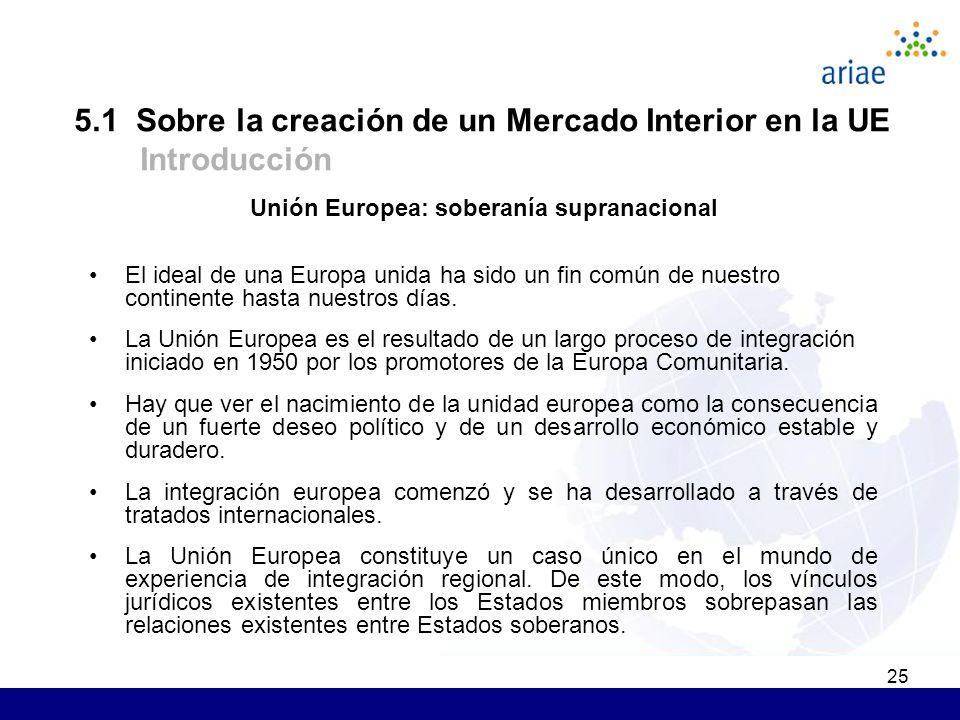25 Unión Europea: soberanía supranacional El ideal de una Europa unida ha sido un fin común de nuestro continente hasta nuestros días.