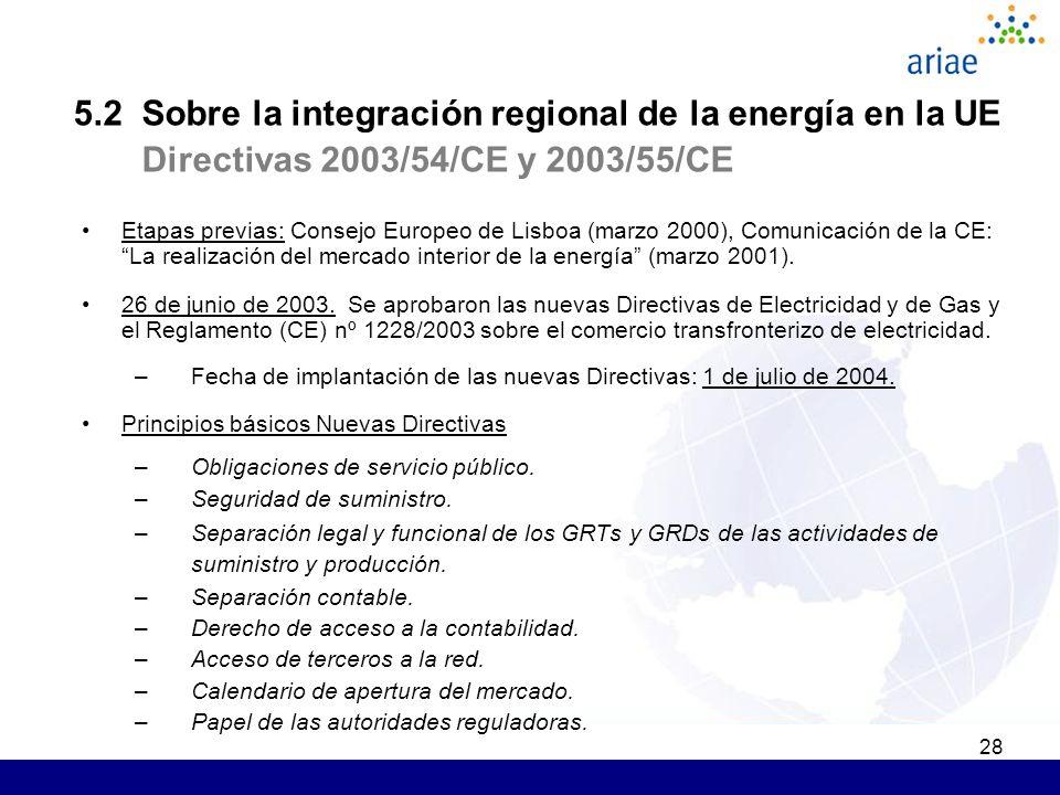 28 5.2 Sobre la integración regional de la energía en la UE Directivas 2003/54/CE y 2003/55/CE Etapas previas: Consejo Europeo de Lisboa (marzo 2000), Comunicación de la CE: La realización del mercado interior de la energía (marzo 2001).