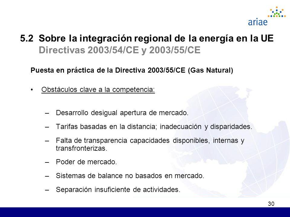 30 Puesta en práctica de la Directiva 2003/55/CE (Gas Natural) Obstáculos clave a la competencia: –Desarrollo desigual apertura de mercado. –Tarifas b