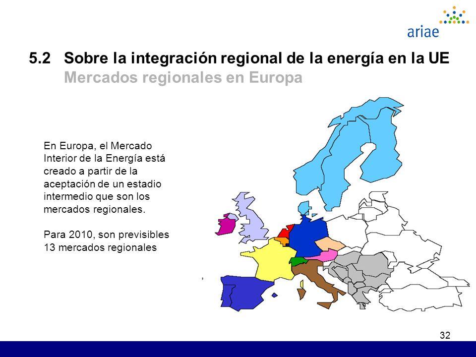 32 5.2 Sobre la integración regional de la energía en la UE Mercados regionales en Europa En Europa, el Mercado Interior de la Energía está creado a partir de la aceptación de un estadio intermedio que son los mercados regionales.