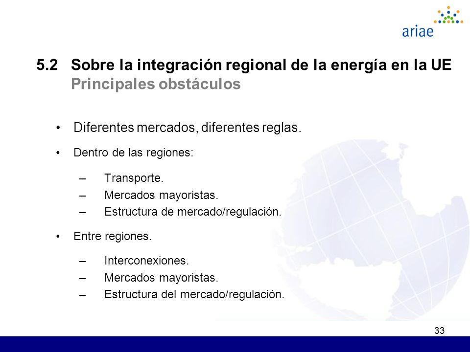 33 5.2 Sobre la integración regional de la energía en la UE Principales obstáculos Diferentes mercados, diferentes reglas. Dentro de las regiones: –Tr