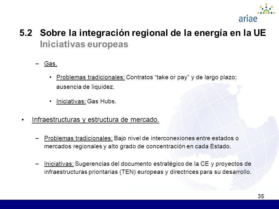 35 5.2 Sobre la integración regional de la energía en la UE Iniciativas europeas –Gas. Problemas tradicionales: C ontratos take or pay y de largo plaz