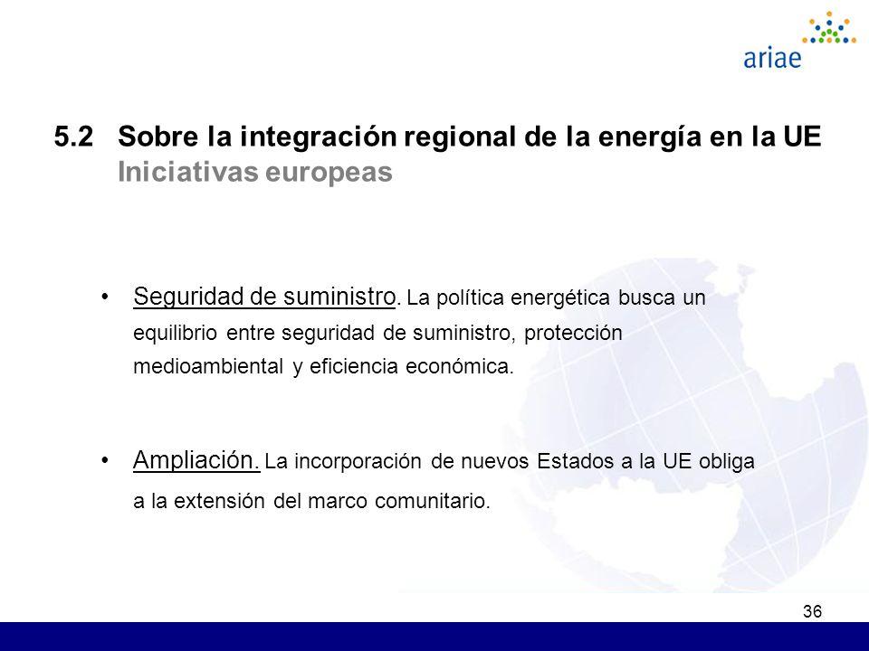 36 5.2 Sobre la integración regional de la energía en la UE Iniciativas europeas Seguridad de suministro. La política energética busca un equilibrio e