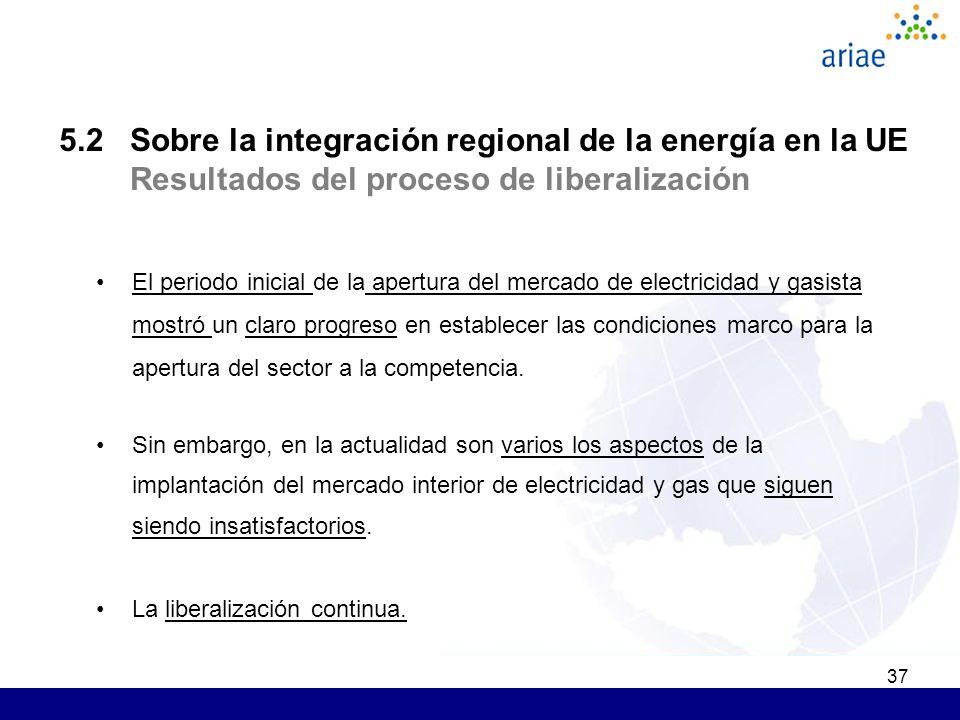 37 5.2 Sobre la integración regional de la energía en la UE Resultados del proceso de liberalización El periodo inicial de la apertura del mercado de electricidad y gasista mostró un claro progreso en establecer las condiciones marco para la apertura del sector a la competencia.