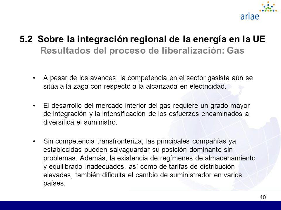 40 5.2 Sobre la integración regional de la energía en la UE Resultados del proceso de liberalización: Gas A pesar de los avances, la competencia en el sector gasista aún se sitúa a la zaga con respecto a la alcanzada en electricidad.
